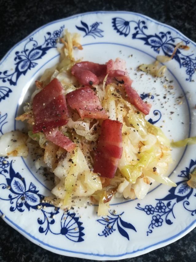 Healthy, tasty and inexpensive fried cabbage.