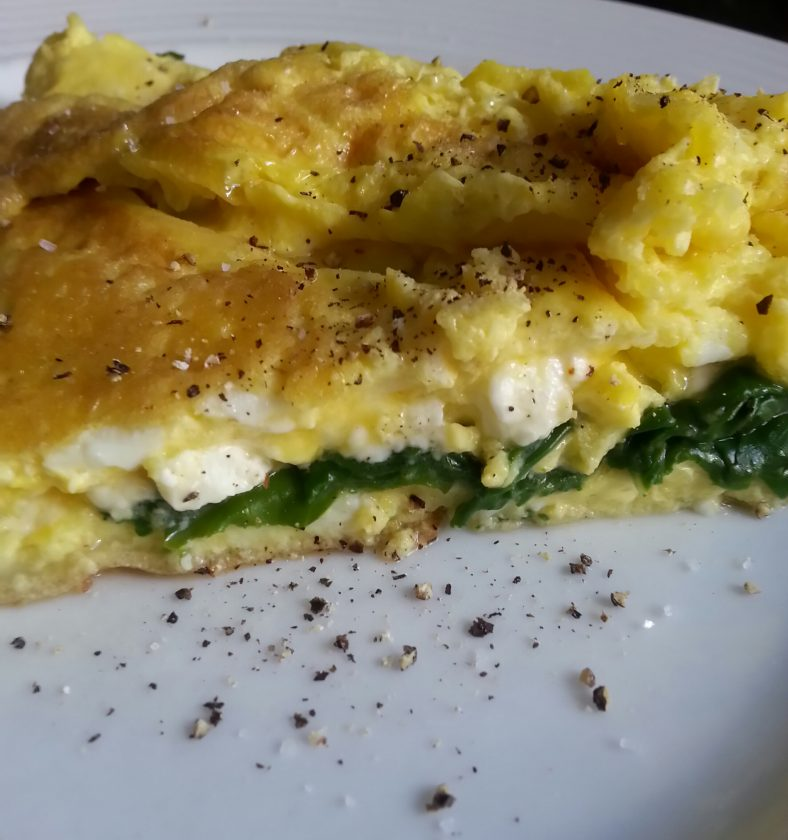 Banting and keto-friendly egg omelette with Swiss chard and feta cheese.