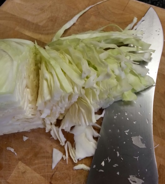 Thinly sliced cabbage for sauerkraut.