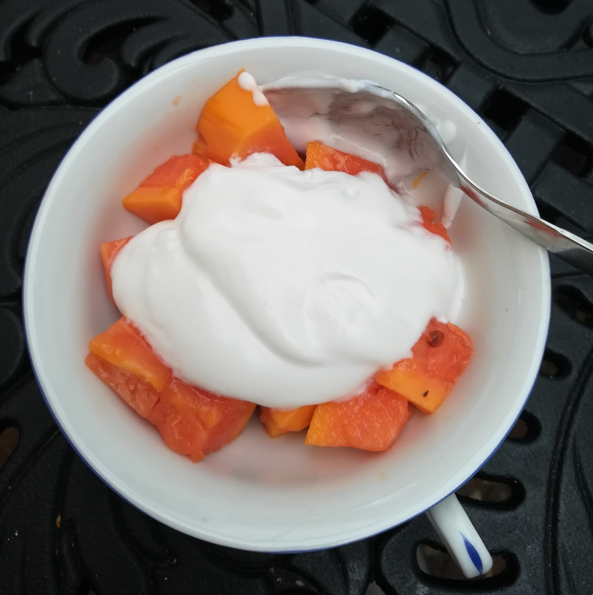 LCHF foods that I love to eat - coconut kefir and papaya