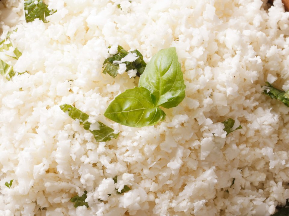 Cauliflower rice is enjoyed on a LCHF Banting ketogenic diet.